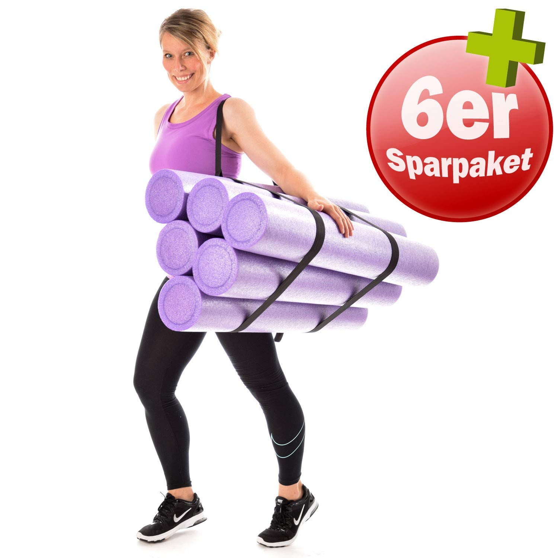 6er Set KAWANYO Pilatesrolle Faszienrolle Yoga Gymnastik Rolle 90 cm + Tragegurt
