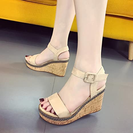 dea21e2a8d4 Image Unavailable. Image not available for. Color  Hemlock Women Lady High  Heel Sandals Wedge Sandals Peep Toe ...