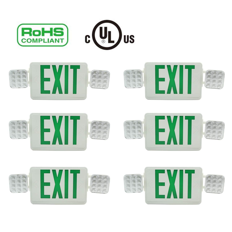 Doitpower 6 Pack LED Exit Emergency Lighting,Back -up Letter Cover,LED Exit Sign Emergency Wall Light, 120V/277V AC Dual Voltage Operation Green Letter (6 Pack)