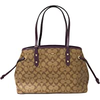 Coach Signature Drawstring Carryall Shoulder Bag F57842 (IM/Khaki/Blackberry)
