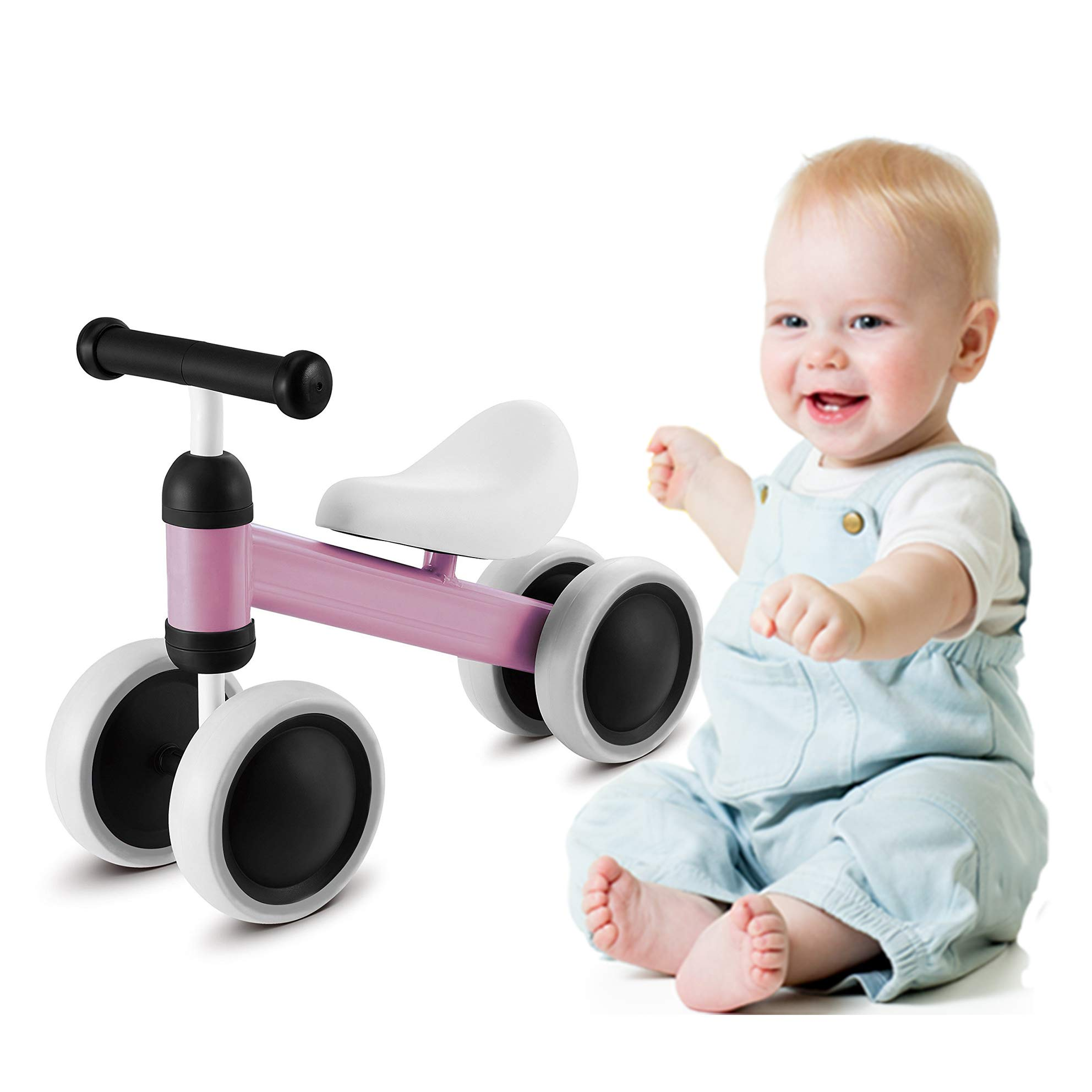 MammyGol Baby Balance Bikes Bicycle Children Walker 10-36 Months No Pedal Infant 4 Wheels Baby Bike for 1 Year Old Toys Rides First Birthday New Year Gift