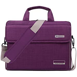 BRINCH Laptop Bag Oxford Fabric Portable Notebook Messenger Bag Shoulder Briefcase Handbag Travel Carrying Sleeve Case w/Shoulder and Luggage Strap for Men Women Compatible 17-17.3 Inch Laptop,Purple