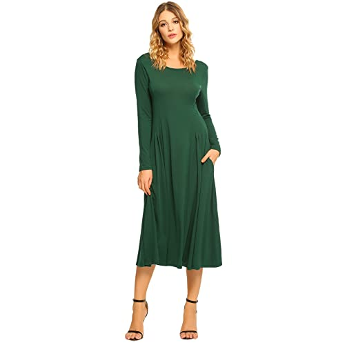 iClosam Womens Long Sleeve Loose Pleated Swing Maxi Flowy Fit and Flare A-Line Dress