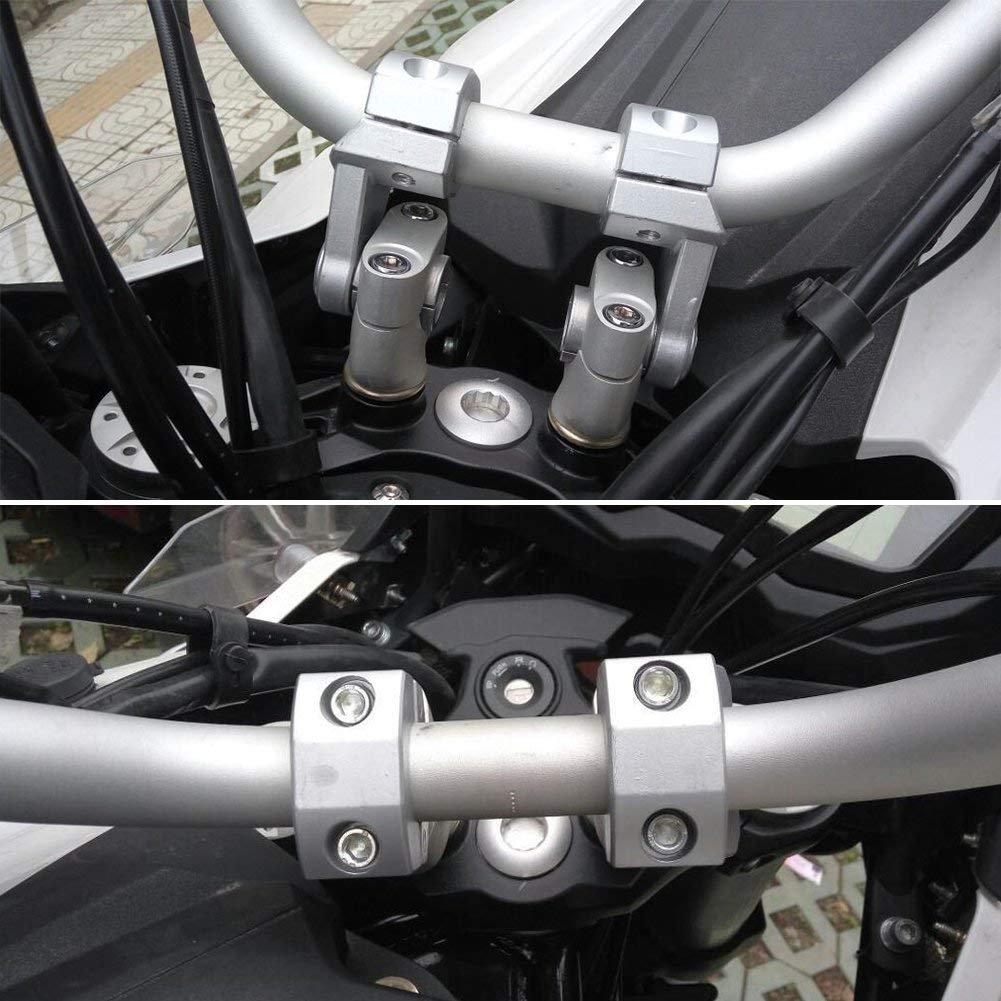 Triclicks 2X Abrazadera Universal 22/28 mm del Manillar de la Motocicleta, Aluminio,Soporte Elevador para Manillar, Eelevación del Manillar, Adaptador de ...