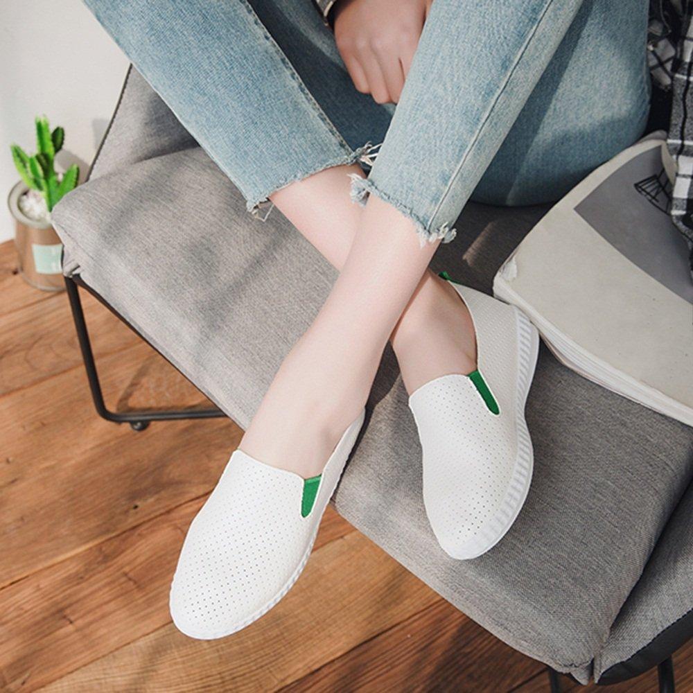 NAN Damenschuhe PU Sommer Komfortable Faule Schuhe Weiße Schuhe Flache Ferse Schwarz Rot Grün ( Farbe : Grün , größe : EU36/UK3.5/CN35 )