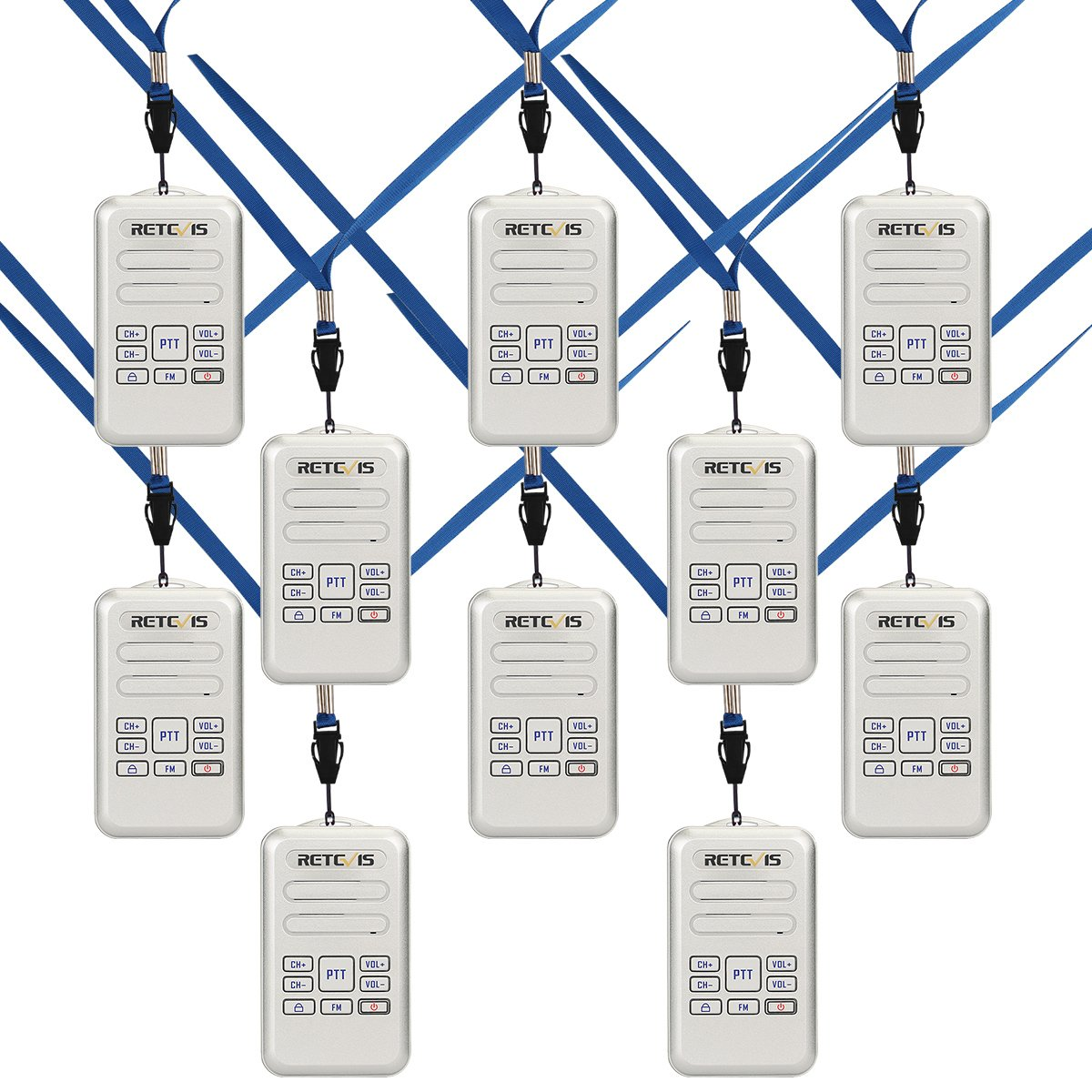 Retevis RT20 Two Way Radios Mini Size VOX FM Rechargeable Security 2 Way Radios Walkie Talkies Silver, 10 Pack