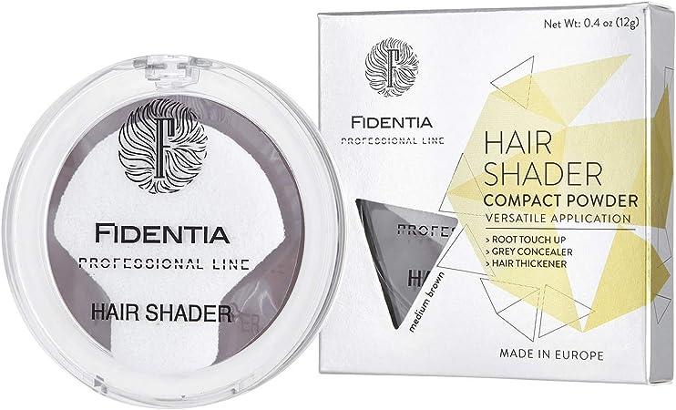 Fidentia Maquillaje Capilar | Corrector de Pelo | Retoca las raíces, canas y la pérdida de cabello al instante | 12g Castaño Medio