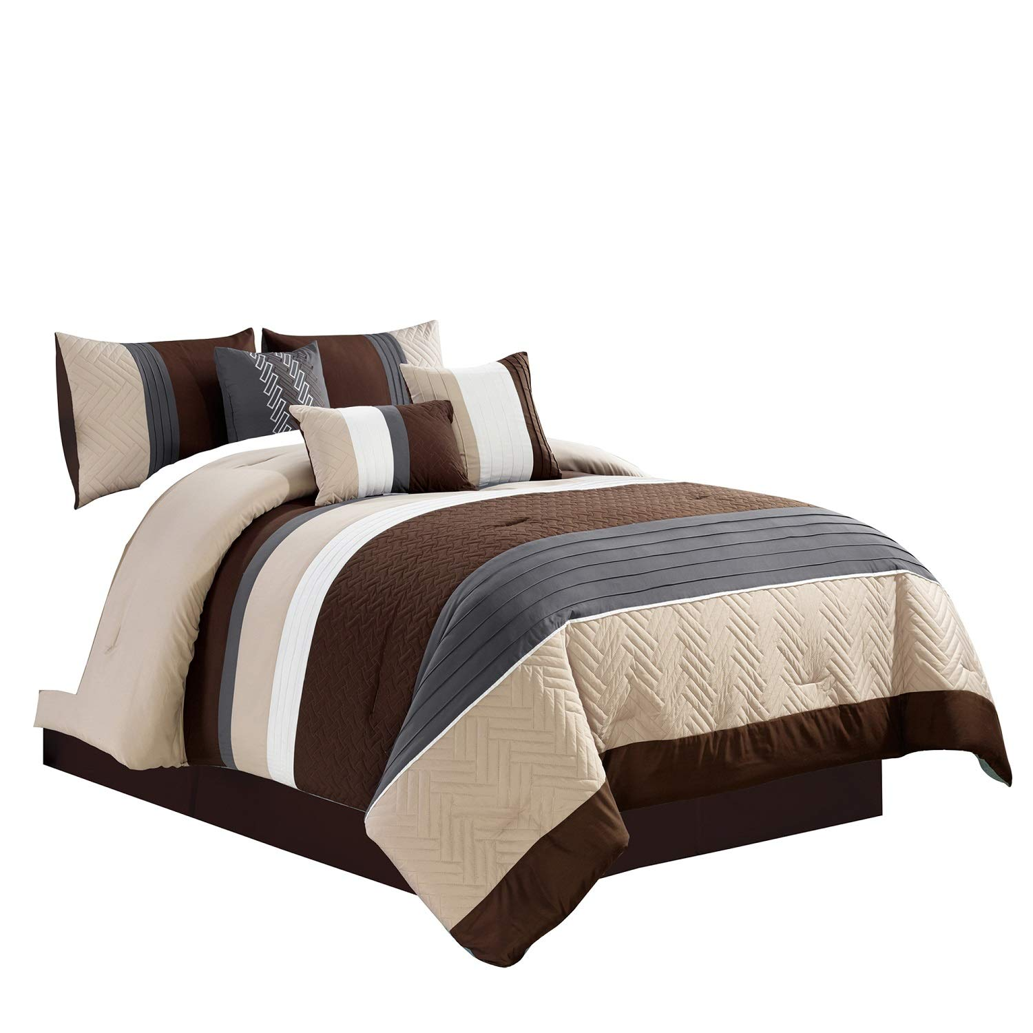 WPM 7 Piece Modern Design Comforter Set Multicolor Grey/Coffee Brown/Beige Taupe Embroidered Bed in a Bag Professional Bedding Set-Leni (Queen)