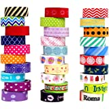 VEYLIN 20 Rolls Craft Washi Tape Set, Decorative Masking Adhesive Tapes for Notebook, Lamps, Keyboard Random Style (No Duplicates) 15mm/ 0.59inches Wide