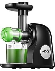 Licuadora Prensado en Frio, Aicok Slow Juicer Función del Motor Silencioso y Inversa, Licuadoras para verduras y frutas, Fácil de Limpiar con Cepillo, Recetas de Máquina de Jugo para Verduras y Frutas