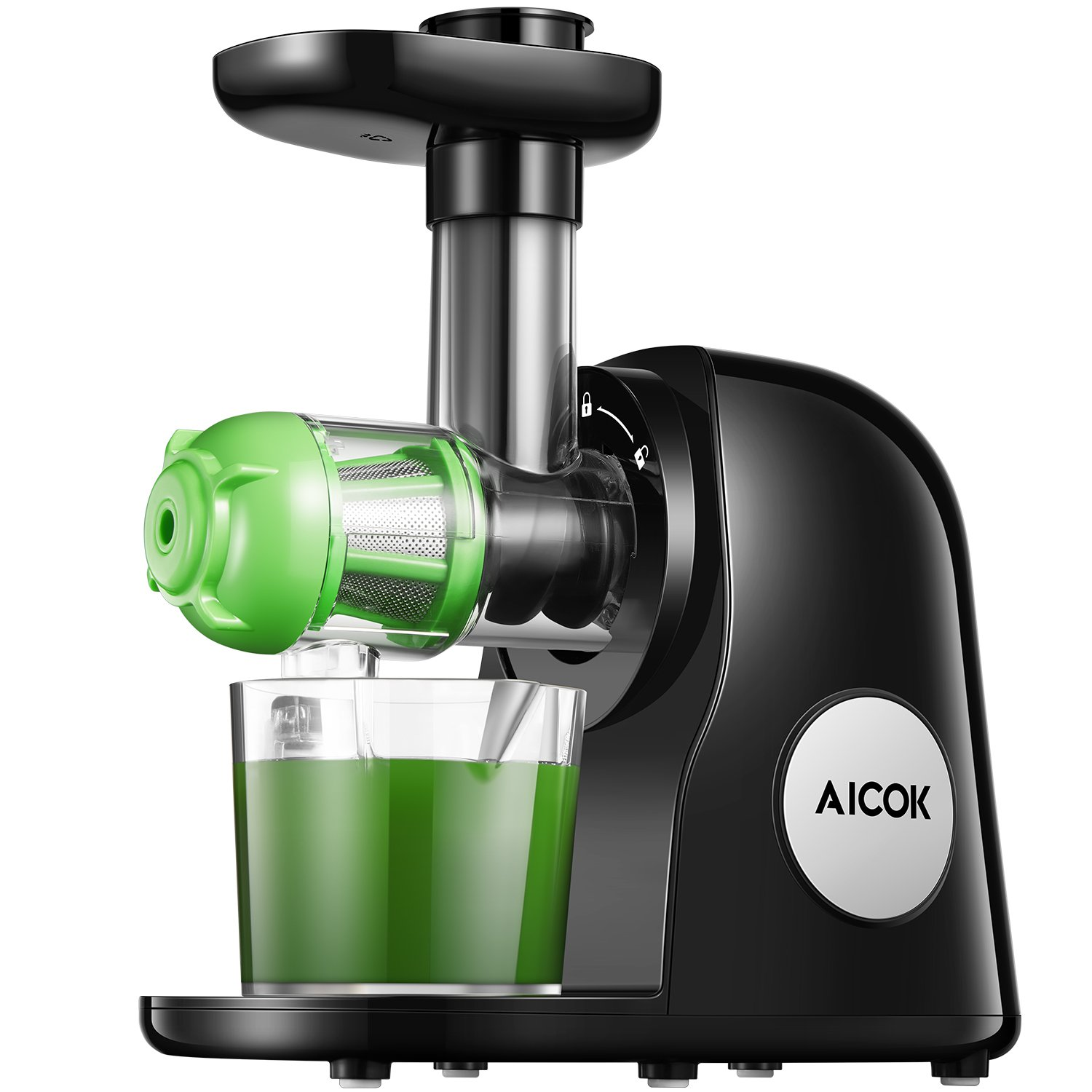 Juicer Masticating Slow Juicer Extractor, Aicok Juice Quiet Motor & Reverse Function, BPA Free, Cold Press Juicer Easy to Clean with Brush, Juice Machine Recipes for Vegetables and Fruits