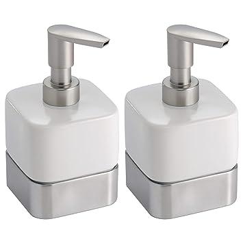 mDesign Dispensador de jabon rellenable - Dosificador de jabon en cerámica con capacidad de 414 ml