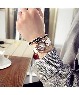 Unisex Fashion Exquisite Classic Hollow-Out Quartz-Watch Unique Casual Style Dial Design Leather Wristband Clock