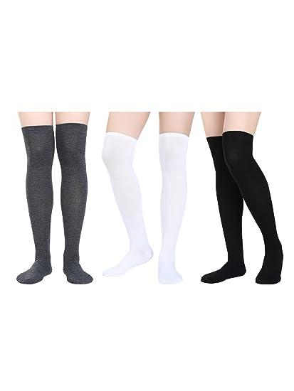ef04890a7 Amazon.com  Satinior Women Knee High Socks High Thigh Stockings with ...