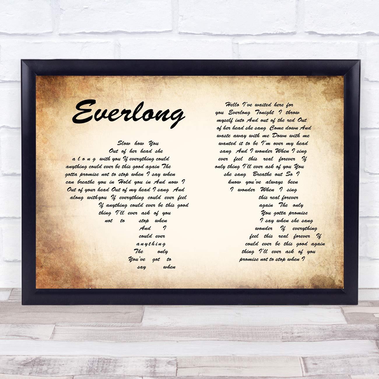 Amazon Everlong Man Lady Couple Song Lyric Wall Art Quote Print
