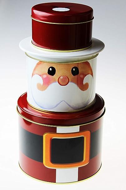 Kamaca – Juego de 3 cajas de galletas redondas de chapa con tapa de metal – Práctico y elegante para invierno, Adviento, Navidad – Juego de latas en forma de un: Amazon.es: Hogar