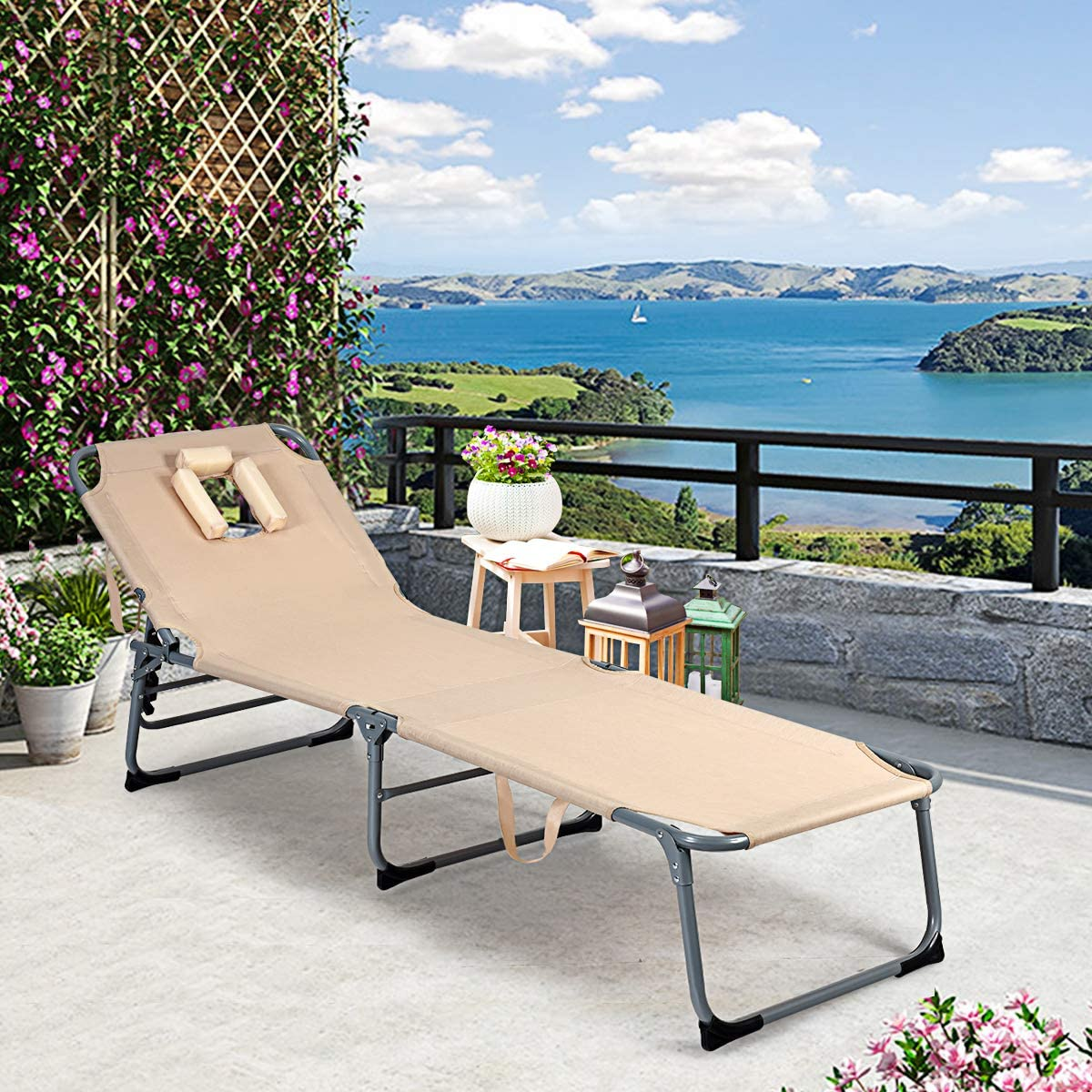 Foldable Beach Bed Cot for Backyard Patio Pool Sunbathing Headrest and Tray Beige Giantex Outdoor Folding Chaise Lounge Chair Adjustable Camping Recliner Chair with Pillow