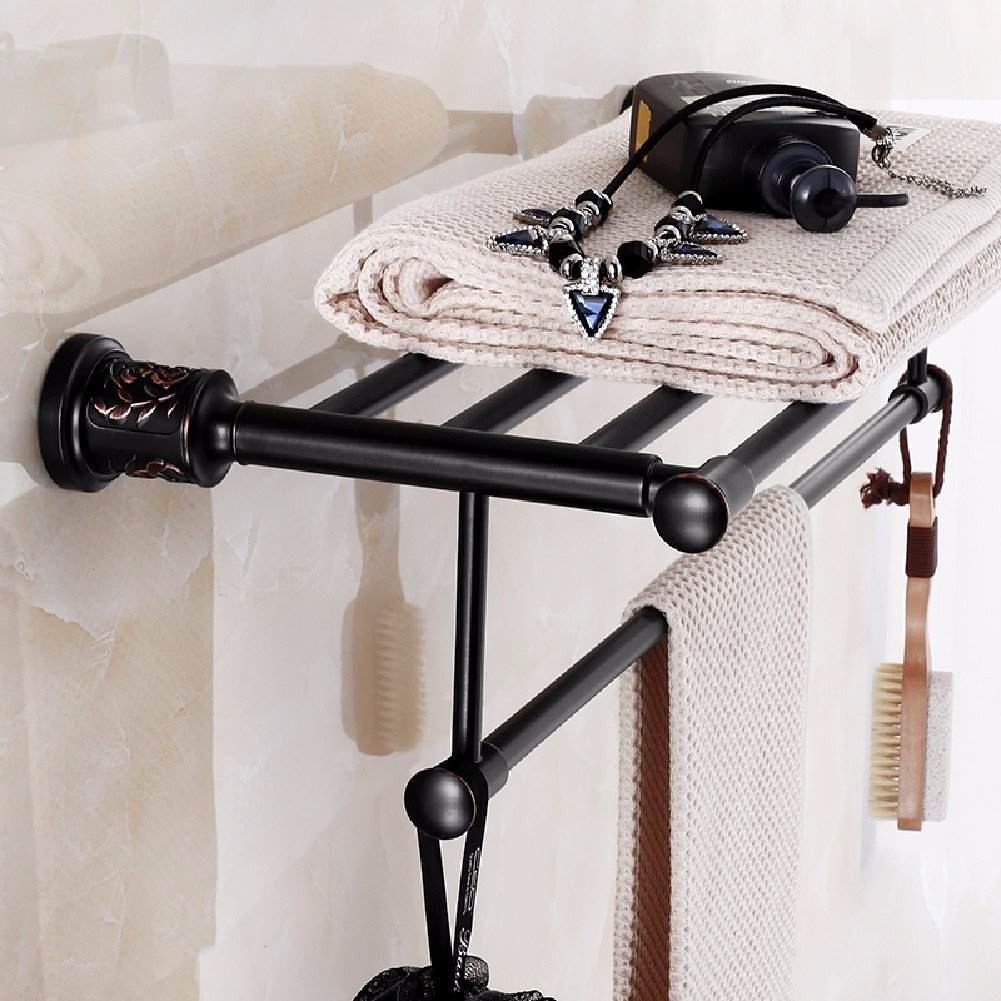 HQLCX Towel Bar, Black Thickening, All Copper Bath, European And American Style Bath Towel Bar,A by HQLCX-Towel Bar