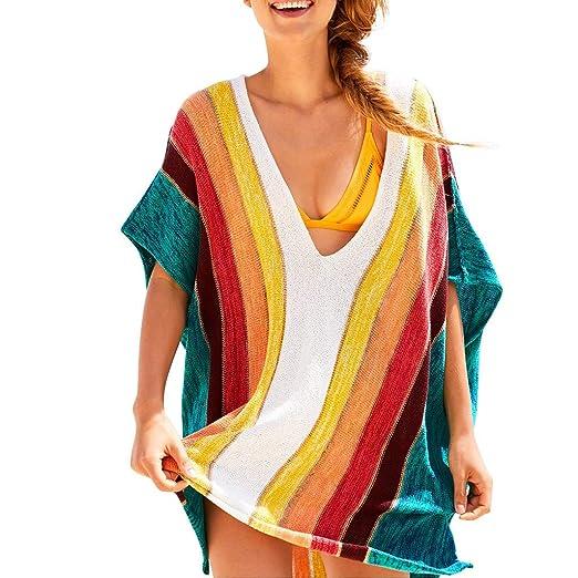 b71ec1d038 OldSch001 Women's Fashion Rainbow Beach Cover Up Sarong Wrap Bikini  Handmade Pareo Smock(Multicolor,