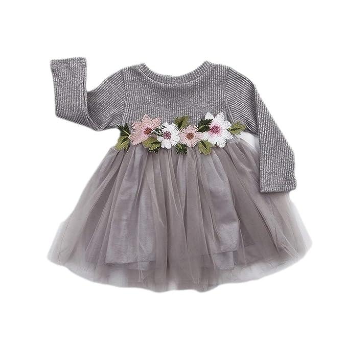 0b420940cdf GRNSHTS Baby Girls Flower Applique Long Sleeve Gauze Dress (70 0-6 Months
