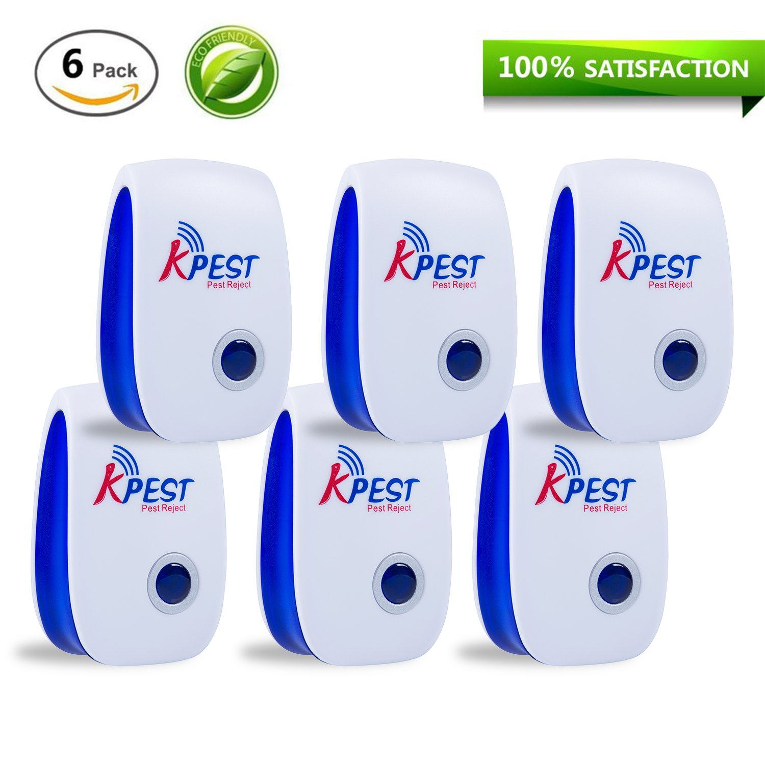 Kpest Pest Control Ultrasonic Repellent,Electronic Plug In Pest Repeller,Pack of 6 Repellent For Mice,Mosquitoes, Cockroaches, Ants, Rodents, Flies, Bugs, Spiders, Other Insects (Blue)