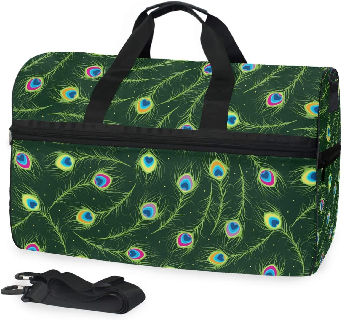 Peacock Travel Duffel Bag Luggage Sports Gym Bag With Shoes Compartment Large Capacity Lightweight Duffle Bag For Men Women