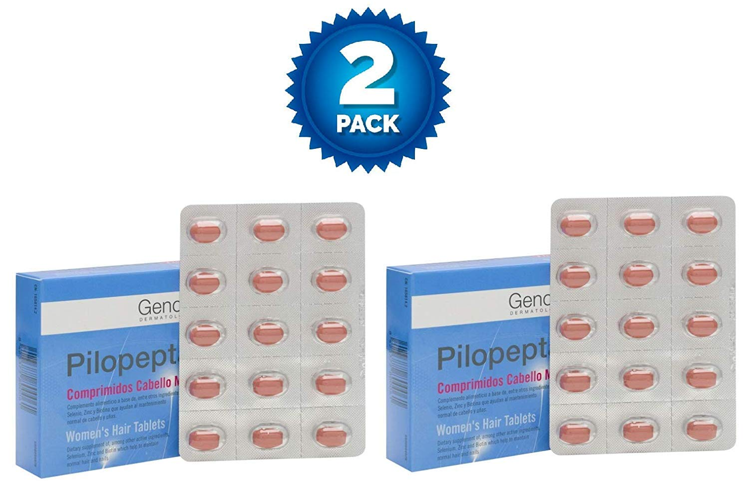 Amazon.com : 2 Pack Genové Pilopeptan Woman 30 x 2 (60 Tablets) - Hair Regrowth Treatment - Stop Hair Loss - Nail and Hair Treatment : Beauty