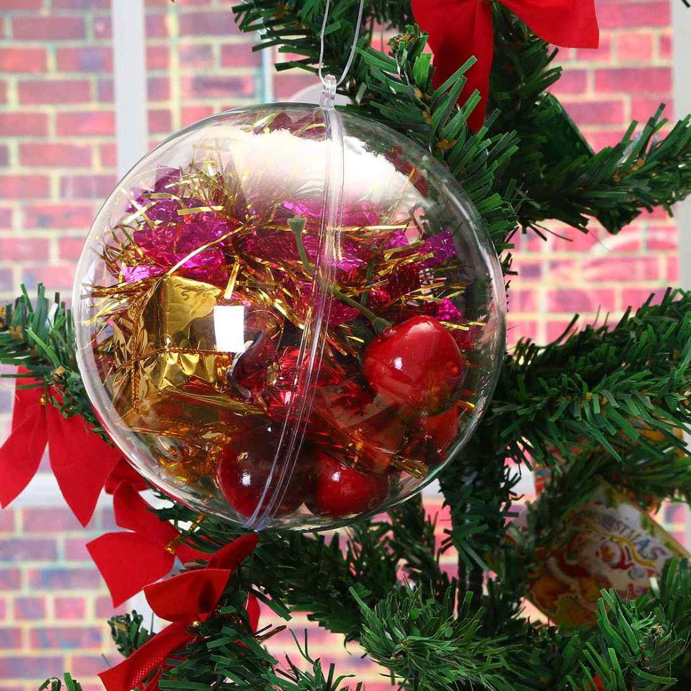 VGOODALL Acrylkugeln, 20 Stück Weihnachtskugeln Transparent Kunststoff Ball Ornament Kugel für Hochzeit Christbaum Saisonal Party Dekoration (80mm)
