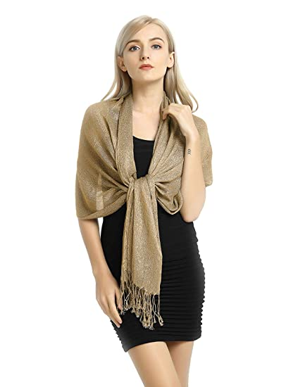 a90505d8f Shawls and Wraps for Evening Dresses, Wedding Shawl Wrap Fringes Scarf Gold