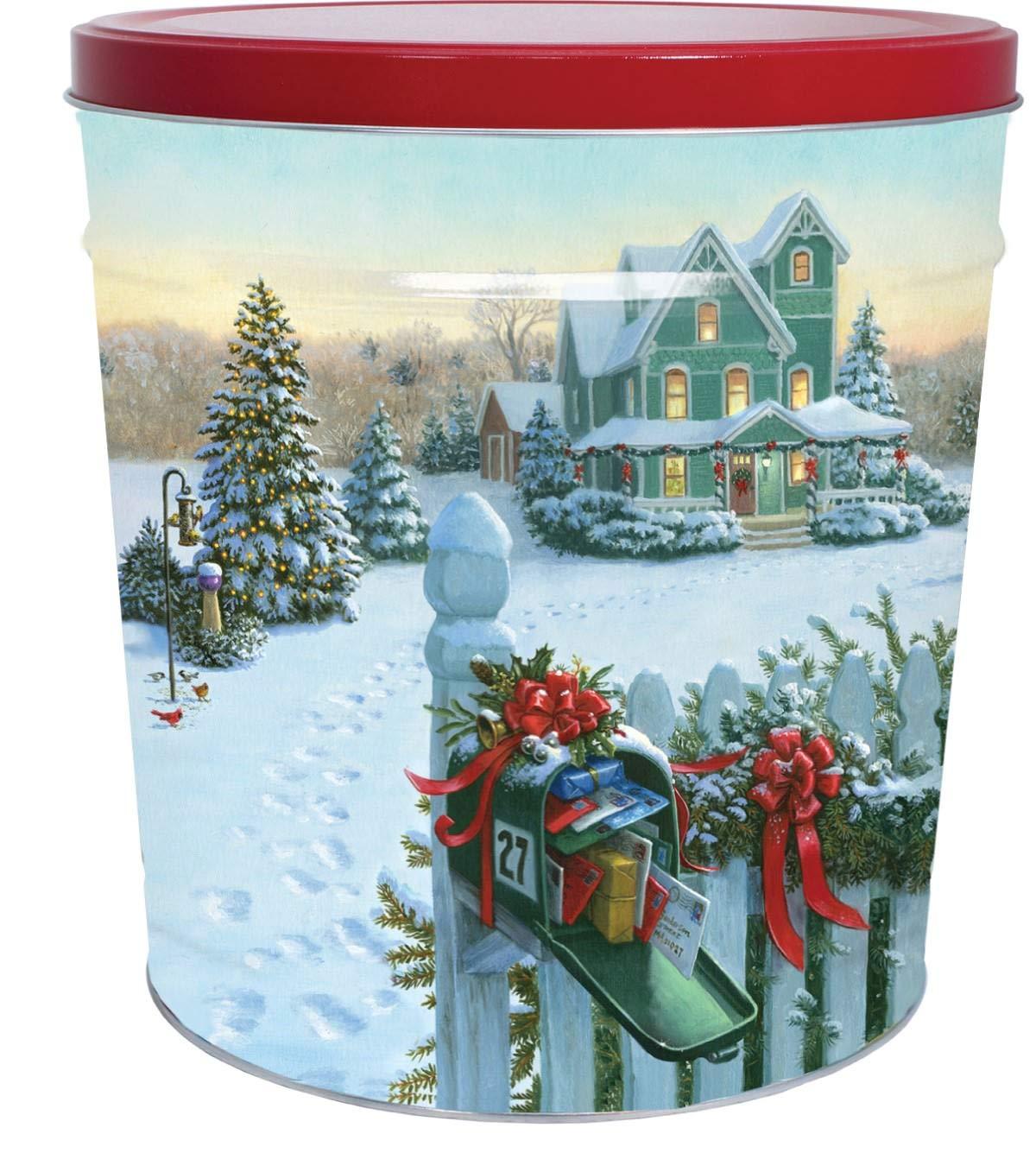 C.R. Frank Popcorn - Gourmet Popcorn Tin, 3.5 Gallon, Christmas Mail (3 Way Butter, Cheese, and Caramel)
