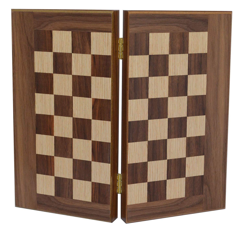 Manopoulos Walnut Travel 12' Backgammon-Chess Set - Without Chess pawns