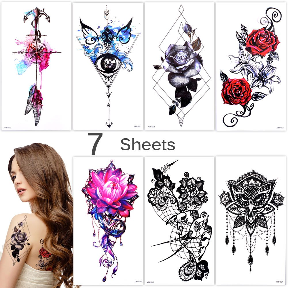 Lady Up 7 Sheets Body Art Temporary Tattoos Fake Tattoo for Women Men Kid Butterfly Flower Anchor Pattern Waterproof Stickers
