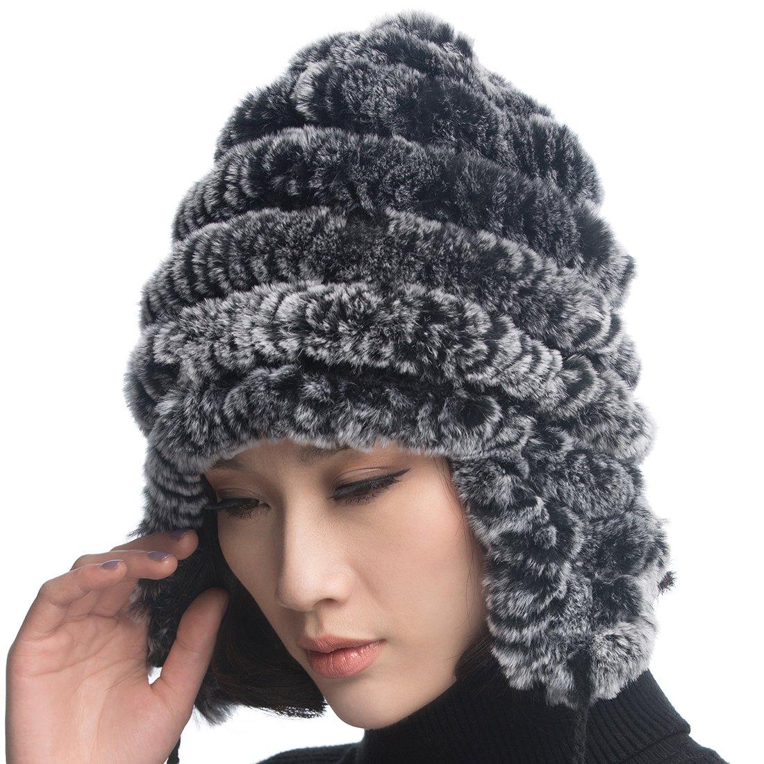 URSFUR Women's Rex Rabbit Fur Hats Winter Ear Cap Flexible Multicolor Black) HB-02-4