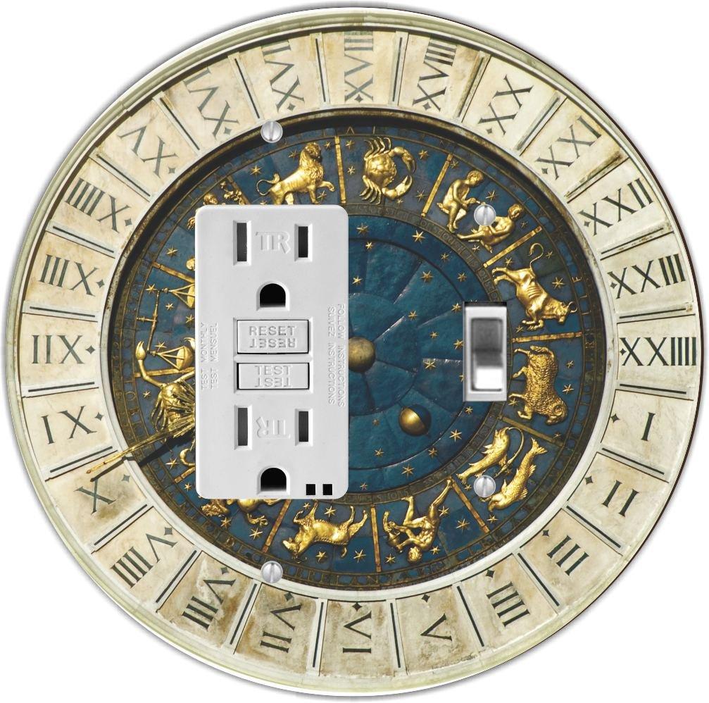Rikki Knight RND-GFITOGGLE-97 Zodiac Clock at San Marco Square in Venice Round GFI Toggle Light Switch Plate
