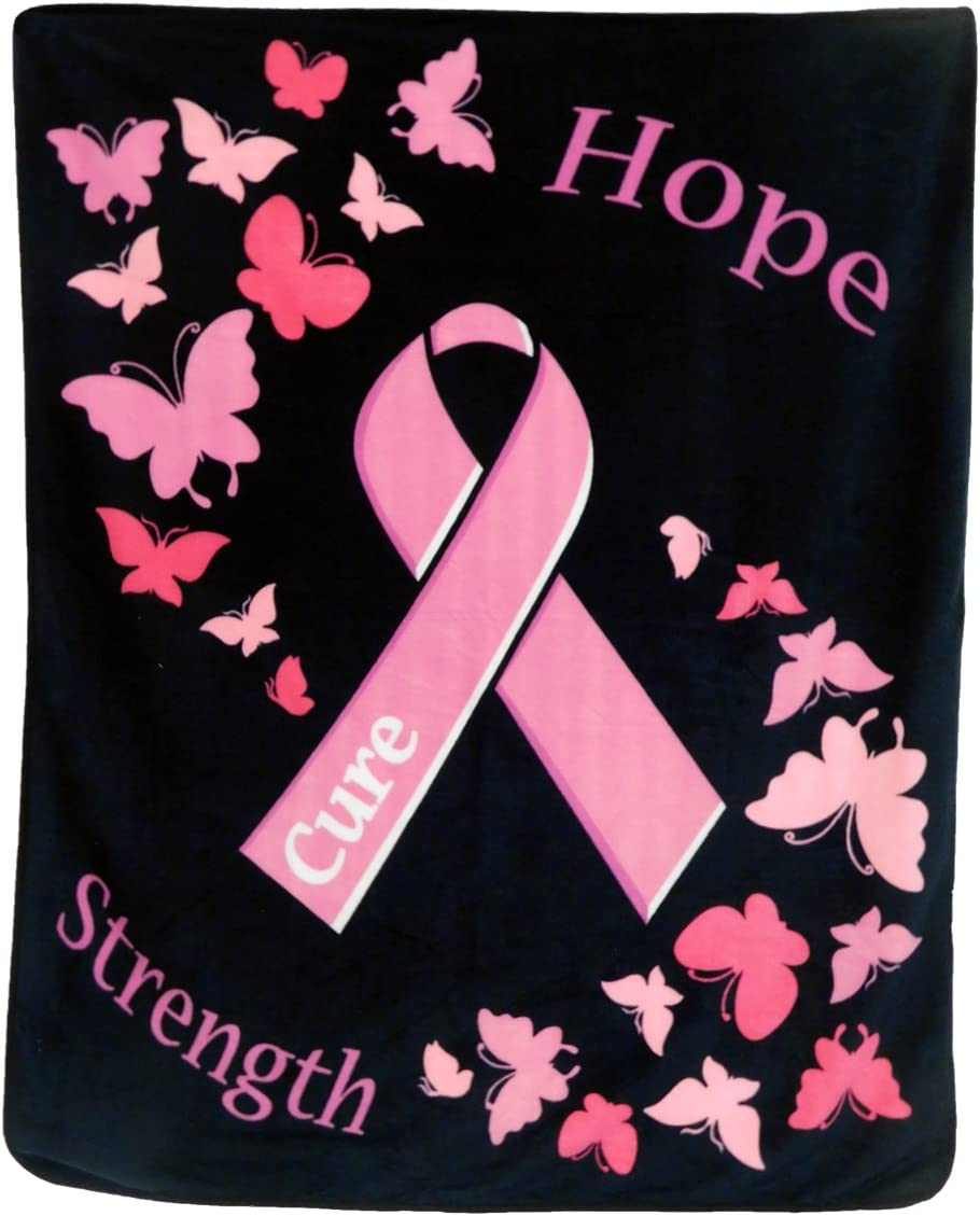 Infinity Republic - Pink Ribbon Breast Cancer Soft Fleece Throw Blanket - 50x60 Perfect for Living Rooms, bedrooms, Kids' Rooms, Outdoors!