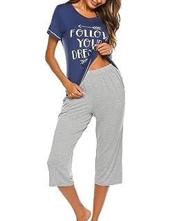 7a5017c9eda58f Unibelle Damen Pyjama Schlafanzug Baumwolle Kurz Nachtwäsche Nachthemd  Hausanzug Kurzarm V Ausschnitt für Sommer