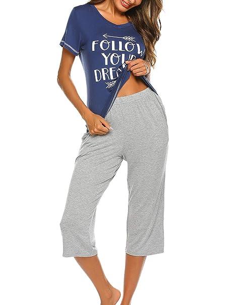 35e8db9c6dec19 Unibelle Damen Pyjama Schlafanzug Baumwolle Kurz Nachtwäsche Nachthemd  Hausanzug Kurzarm V Ausschnitt für Sommer