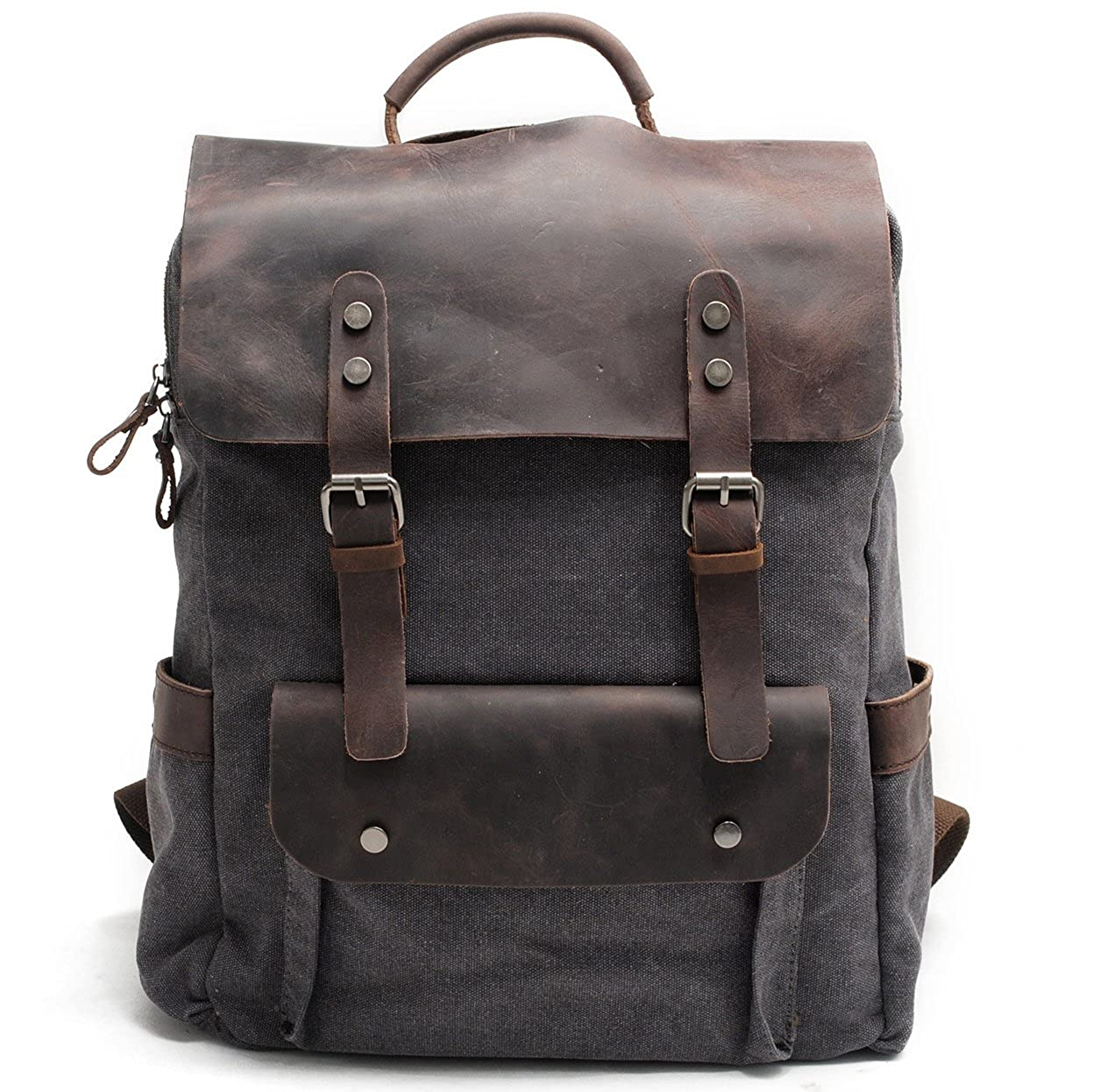 Kenox Leather Canvas Rucksack Laptop Backpack College School Bookbag
