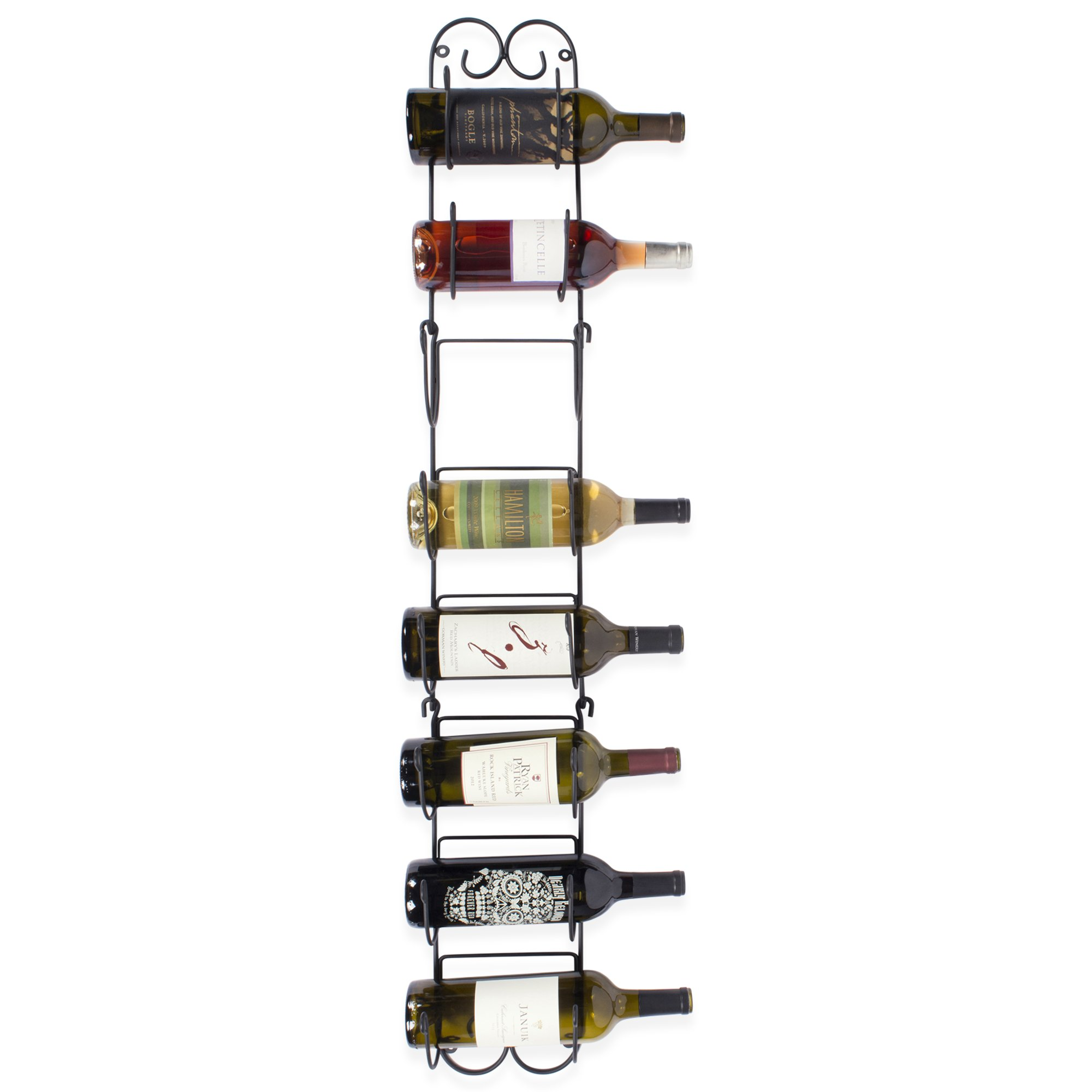 Home Traditions Z01661 Wall Mounted Wine Rack Holds up to 8 Bottles, Large, Black