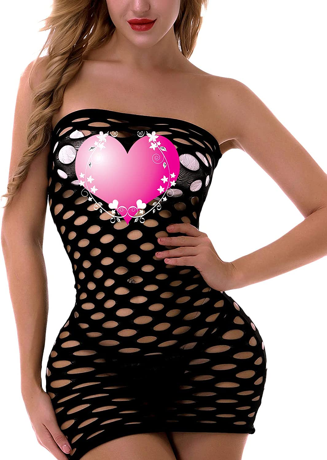 FasiCat Womens Mesh Lingerie Fishnet Babydoll Mini Dress Free Size Bodysuit