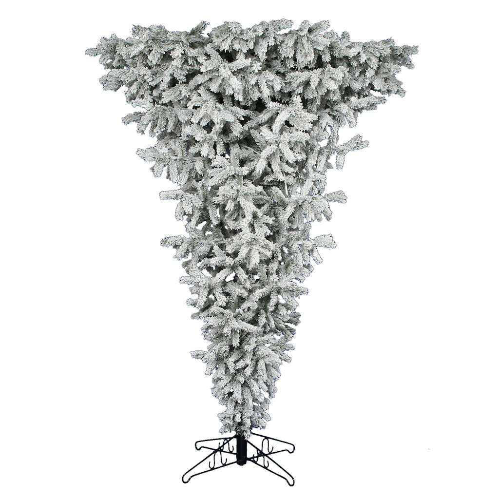 Amazon.com: Vickerman Flocked Upside Down Tree with 600 Clear ...
