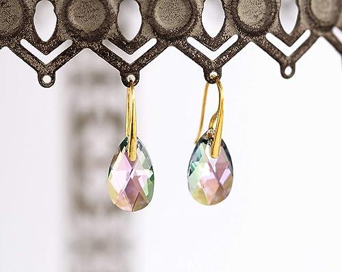 Amazon Com Swarovski Crystal Earrings Gold Earrings Bridal