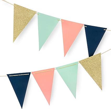 Amazon.com: Banderines de papel para fiestas de 10 pies ...