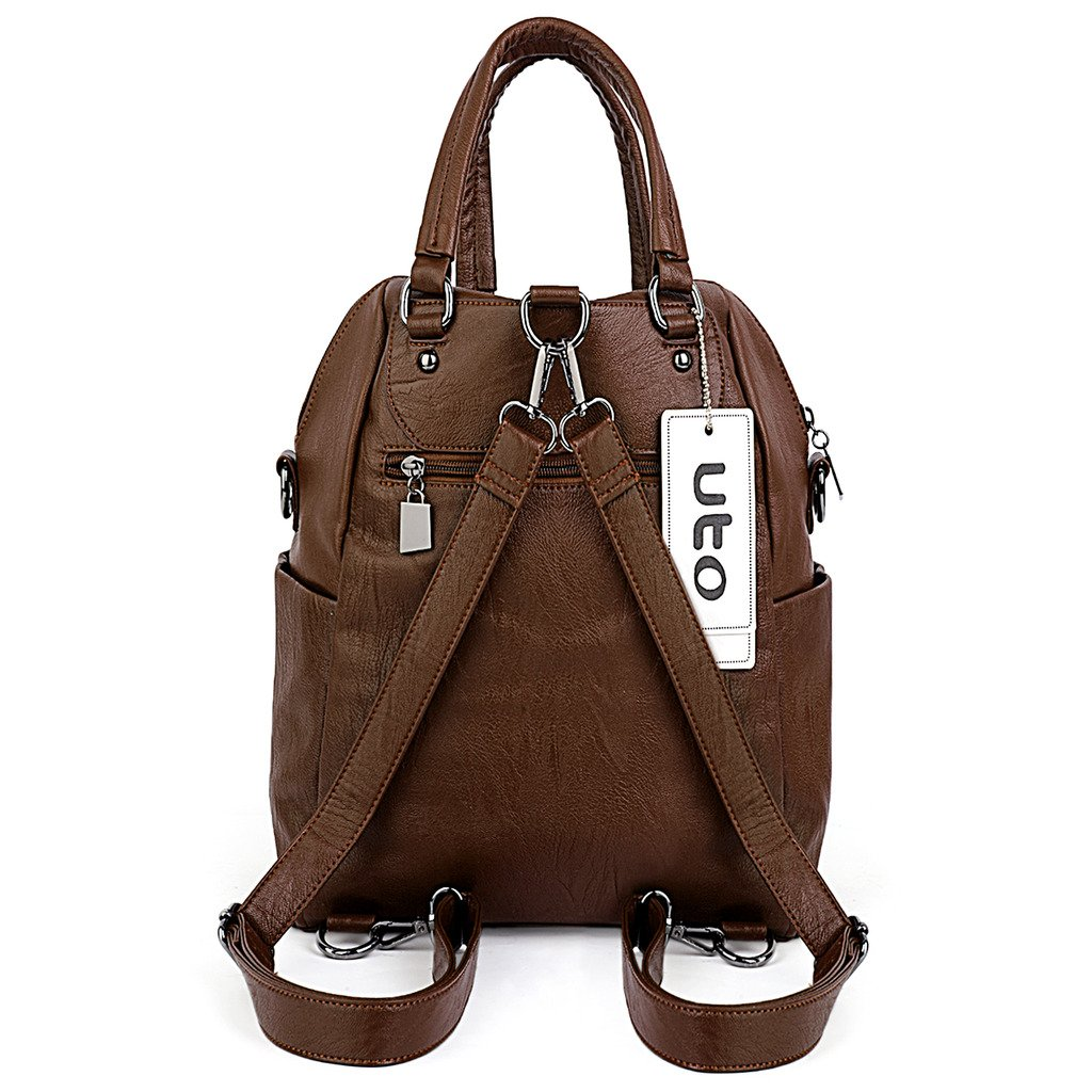 UTO Women Backpack Purse PU Washed Leather Convertible Ladies Rucksack Crossbody Shoulder Bag Brown by UTO (Image #7)