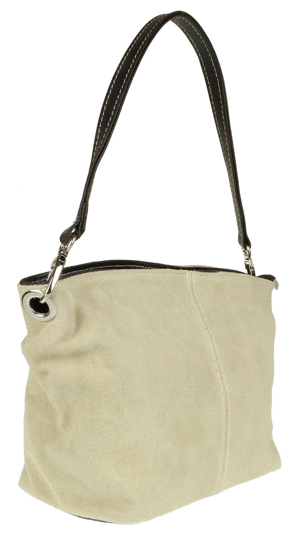 10e08009aedbd Girly HandBags Wildleder Umhängetasche Henkeltasche italienisch Tasche  (Beige)  Amazon.de  Schuhe   Handtaschen