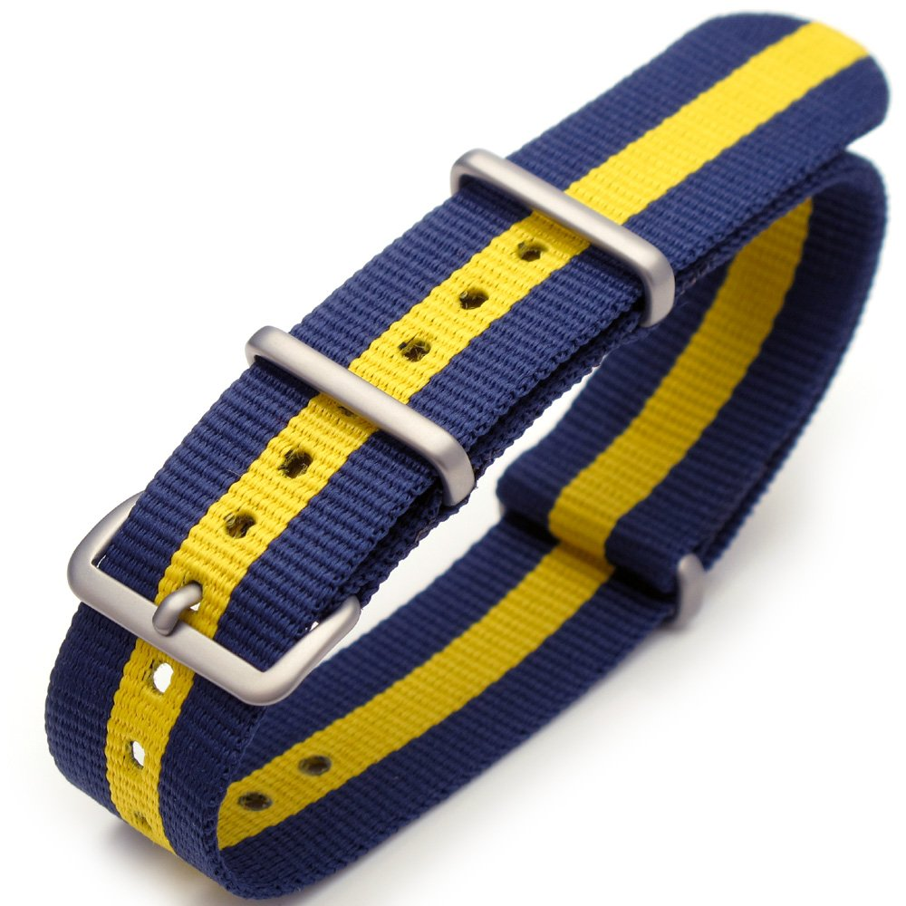 20mm G10 Nato James Bond Nylon Watch Strap Brushed Buckle - Blue & Yellow