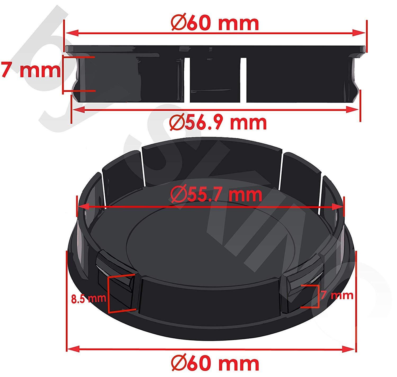 M.S Enjoliveurs en Aluminium avec Logo VRS Embl/ème 60 mm