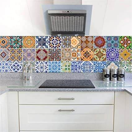 Amazon.com: NewKingStar Backsplash Ceramic Tile Sticker Peel and ...