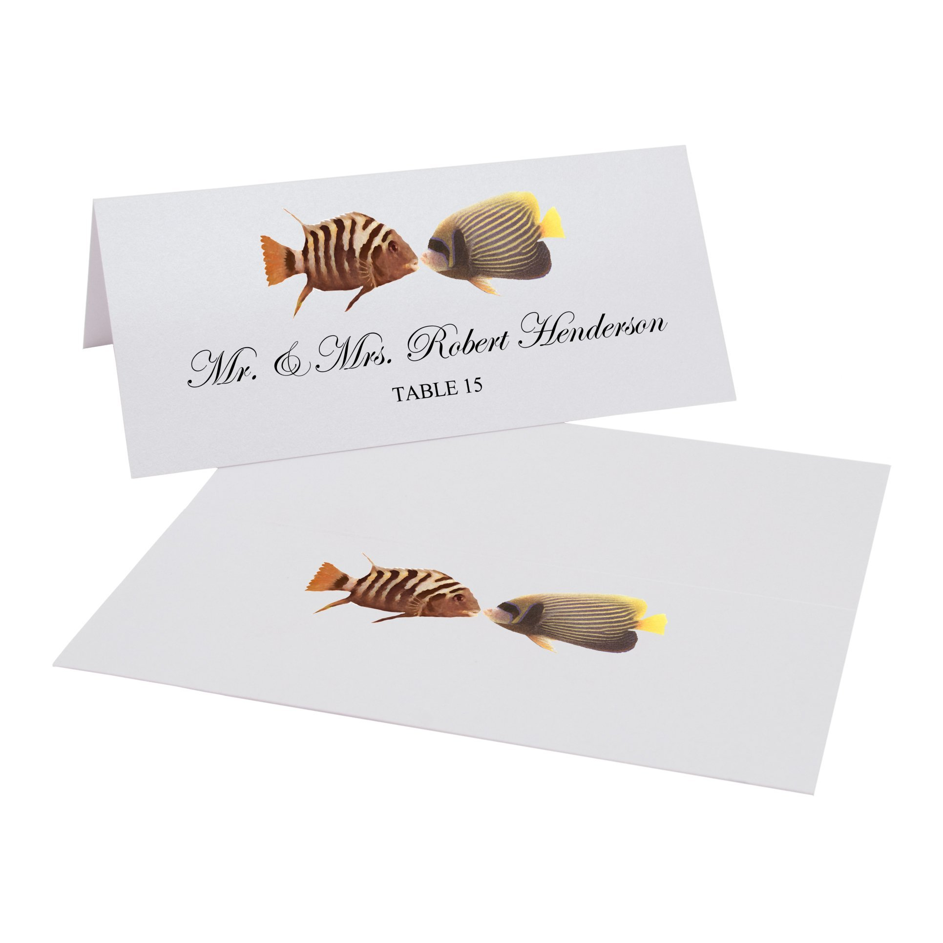 Kissing Fish Place Cards, Pearl White, Set of 350 by Documents and Designs