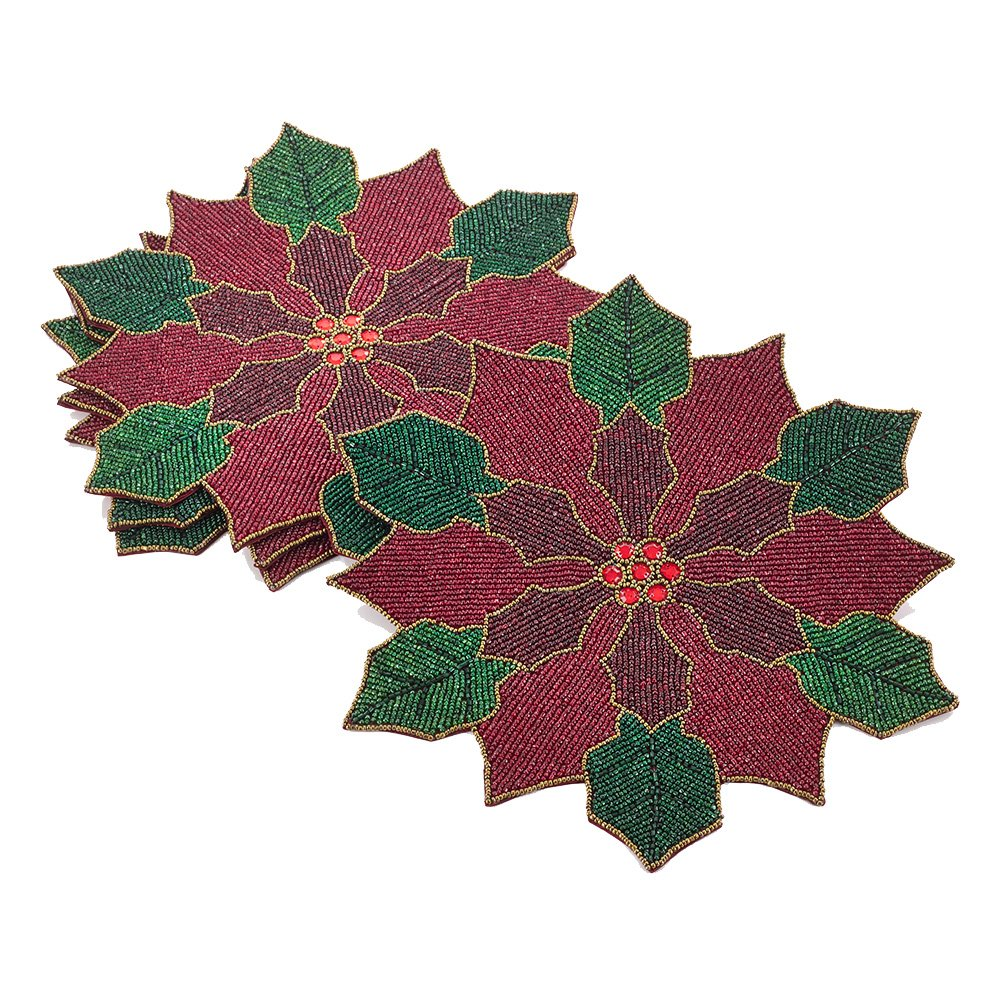 Christmas Tablescape Décor - Red & Green Beaded Christmas Holiday Poinsettia Flower Shape Placemats - Set of 4